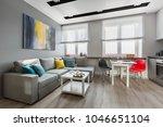 modern studio apartment in gray ... | Shutterstock . vector #1046651104