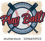 vintage play baseball sports... | Shutterstock .eps vector #1046654923