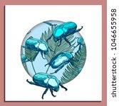 trendy summer tropical palm... | Shutterstock .eps vector #1046655958
