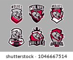 a set of colorful emblems ... | Shutterstock .eps vector #1046667514