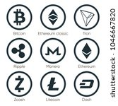 flat cryptocurrencies icons of... | Shutterstock . vector #1046667820