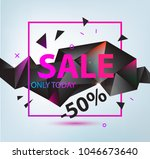 vector sale faceted 3d poster.... | Shutterstock .eps vector #1046673640