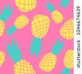 vector seamless pineapple fruit ... | Shutterstock .eps vector #1046674639