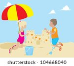 children building sand castle   Shutterstock .eps vector #104668040