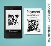 mobile scan qr code on paper... | Shutterstock .eps vector #1046685004