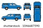 pickup truck vector mock up.... | Shutterstock .eps vector #1046687590