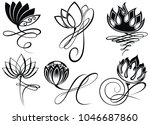 lotus logo vector art set design   Shutterstock .eps vector #1046687860