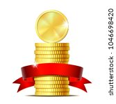 stack of coins with red ribbon. ... | Shutterstock .eps vector #1046698420