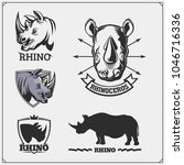 set of vector rhinoceros... | Shutterstock .eps vector #1046716336