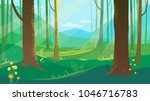 summer forest landscape with... | Shutterstock .eps vector #1046716783
