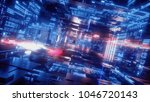 3d render  abstract digital... | Shutterstock . vector #1046720143