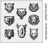 vector set of animals head. fox ... | Shutterstock .eps vector #1046721469