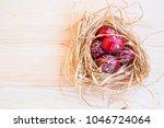 easter eggs festive painted ... | Shutterstock . vector #1046724064