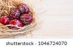 easter eggs festive painted ... | Shutterstock . vector #1046724070