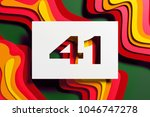 white paper cut number 41 on... | Shutterstock . vector #1046747278