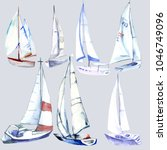 Watercolor.set Of Yachts.hand...