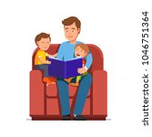 father read book to kids... | Shutterstock .eps vector #1046751364