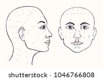 face set  profile and front ...   Shutterstock .eps vector #1046766808