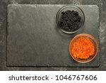 red salmon roe and black...   Shutterstock . vector #1046767606