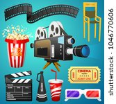 movie elements set. vintage... | Shutterstock .eps vector #1046770606
