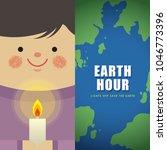 Earth Hour. Cartoon Boy Holdin...