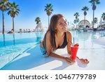 beautiful woman on infinity...   Shutterstock . vector #1046779789