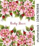 rosehip flowers  watercolor...   Shutterstock . vector #1046780848