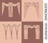 . lambrequin.classic curtains . ... | Shutterstock . vector #1046786353