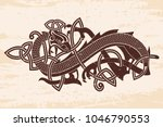 celtic two headed dragon with... | Shutterstock .eps vector #1046790553