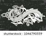celtic two headed dragon with... | Shutterstock .eps vector #1046790559