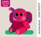 pink elephant cartoon character.... | Shutterstock .eps vector #1046794579