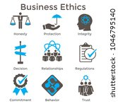 business ethics solid icon set... | Shutterstock .eps vector #1046795140