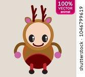 brown deer cartoon character.... | Shutterstock .eps vector #1046799619