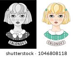 face of a pretty blonde.... | Shutterstock .eps vector #1046808118
