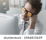lazy unproductive office worker ... | Shutterstock . vector #1046815639