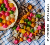Small photo of Aalaw or Alua, Thai traditional candy sweet dessert, food background, pattern and texture of sweet in pastel color