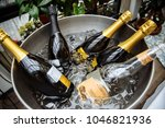 bottles of champagne with ice | Shutterstock . vector #1046821936