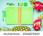 blank green notebook with...   Shutterstock . vector #1046825644