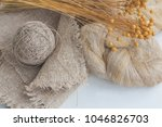 flax fibers for the production... | Shutterstock . vector #1046826703