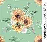 sunflower green leaves seamless ... | Shutterstock . vector #1046849644