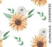 sunflower seamless pattern... | Shutterstock . vector #1046849650