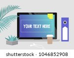 your text here. office still... | Shutterstock .eps vector #1046852908