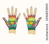 hand reflexology scheme with... | Shutterstock .eps vector #1046853043