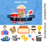 cinema and movie time concept... | Shutterstock .eps vector #1046856700