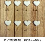 wooden key holder for wall with ... | Shutterstock . vector #1046862019