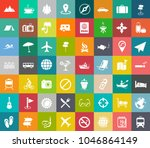 vector travel icons  vacation... | Shutterstock .eps vector #1046864149
