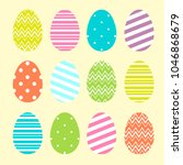 colorful easter eggs set in... | Shutterstock . vector #1046868679
