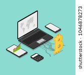 bitcoin crypto currency mining... | Shutterstock .eps vector #1046878273