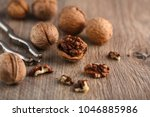 walnut kernels and whole... | Shutterstock . vector #1046885986