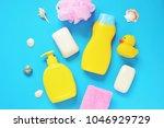 pink sponge  yellow shampoo...   Shutterstock . vector #1046929729